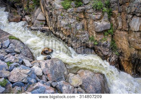 Cache la Poudre River at Poudre Falls - aerial view in summer with high flow