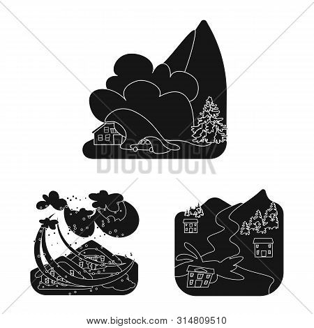 Isolated Object Of Calamity And Crash Symbol. Set Of Calamity And Disaster Vector Icon For Stock.