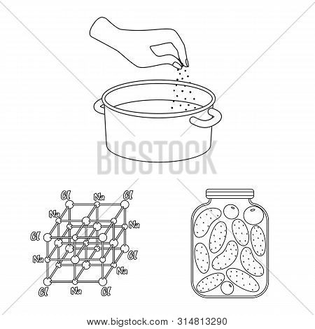 Isolated Object Of Sodium And Mineral Icon. Set Of Sodium And Kitchen Stock Vector Illustration.