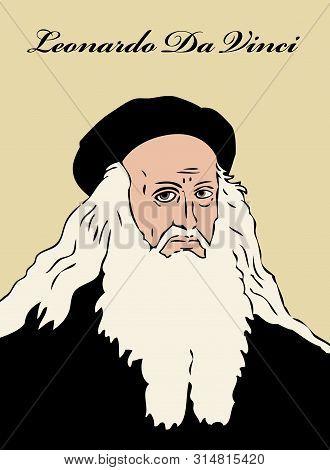 A Portrait Of The Italian Polymath And Genuis Leonardo Da Vinci.