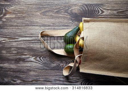 Reusable Shopping Bag With Fresh Fruits. Natural Eco Friendly Material. Yellow Bananas, Green Avocad