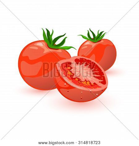 Two Whole And Half Of Red Tomatoes, Source Of Umami Flavor. Consumed Raw Or Cooked, In Many Dishes,