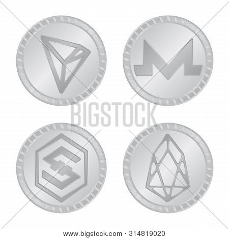 Vector Illustration Of Cryptography And Finance Logo. Set Of Cryptography And E-business Stock Vecto