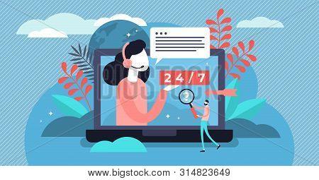 Online Support Vector Illustration. Flat Tiny Web Help Platform Persons Concept. Customer Assistance