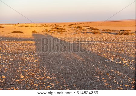 A Safari Vehicle Is Casting A Long Shadow In The Early Morning. Khomas Region, Namibia.