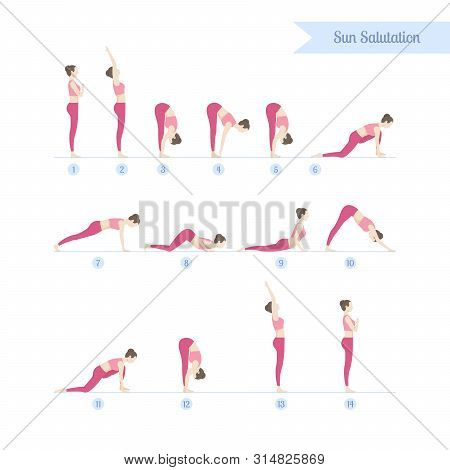 Yoga Practicing Set. Steps To Sun Salutations, Or Surya Namaskar, Are Traditionally Performed In The