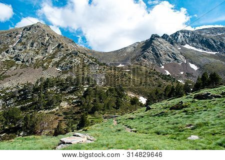 Beautiful Landscape Mountains In Summer At Parc Natural Del Comapedrosa, Andorra