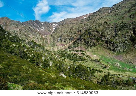Beautiful Landscape Mountains In Summer At Parc Natural Del Comapedrosa, Andorra