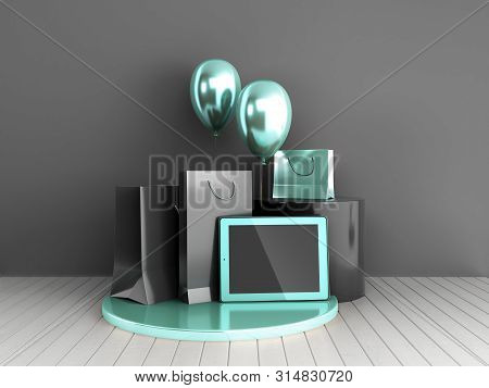 Minimalistic Choping Background Shopping Bags And Tablet On A Pedestal 3d Render