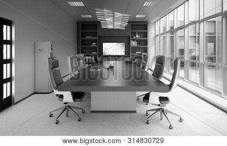 Modern Meeting Room 3d Rendering Image Close Up