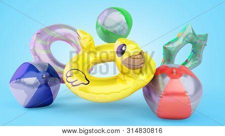 Set Of  Swimming Circles 3d Render On White Gradient