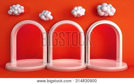 Simple Geometric Podium Pastel Color Scene Minimal Design For Product Display Podium 3d Render