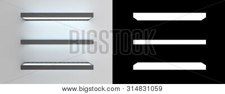 Empty Glass Shelves 3d Render Alpha Include
