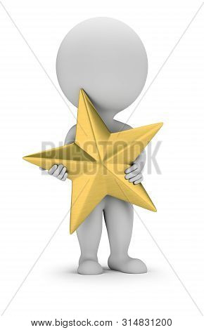 3d Small Person Stands With A Golden Star In His Hands. 3d Image. White Background.