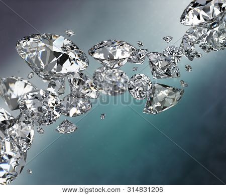 Abstract Dark Background With Diamonds. 3d Image.