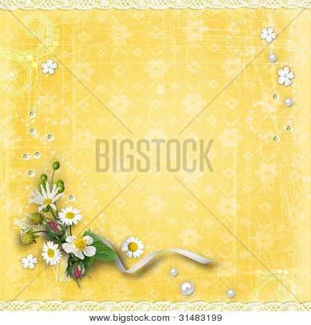 Yellow Textured Background With Flowers