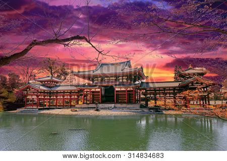 The Japanese Byodo-in Phoenix temple under a twilight sunset, world unesco heritage in the Uji city, Japan