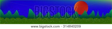 Fancy Sky, And Mountains Landscape. Plain Horizontal Background Illustration. Trendy Fairy Tale Plai