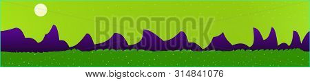 Lime Sky, And Mountains Landscape. Panoramic Horizontal Design. Trendy Panoramic Design. Pristine Gl
