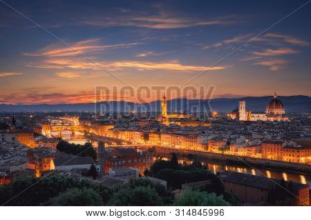 Florence City Skyline In The Dusk, Italy. Aerial Cityscape Panoramic View From Piazzale Michelangelo
