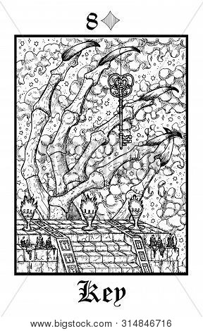 Key Symbol. Tarot Card From Vector Lenormand Gothic Mysteries Oracle Deck. Black And White Engraved