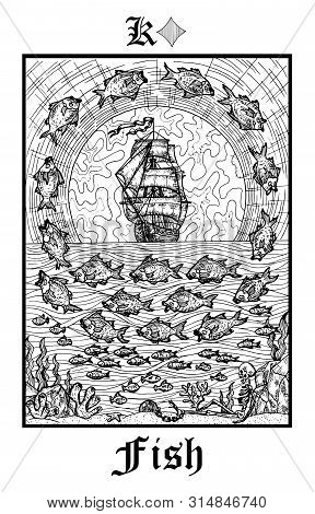Fish Or Ship Symbol. Tarot Card From Vector Lenormand Gothic Mysteries Oracle Deck. Black And White