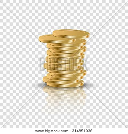 Realistic Golden Coins Stack On Transparent Background. 3d Coin Money Stacked, Gold Penny Cash Pile.