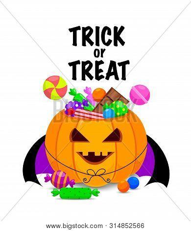 Halloween Pumpkin Bucket With Candies. Trick Or Treat Concept.  Sweet Lollipop Candy Treats For Kids