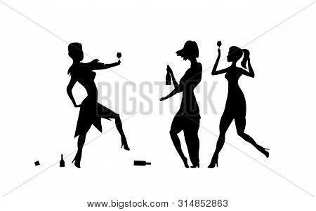 Three Girls, Womens. Ladys Drinking. Drunk People, Drunk Party Event, Vector Silhouettes. Bachelor H