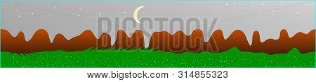 White Neutral Sky, And Mountains Landscape. Panoramic Horizontal Design. Trendy Panoramic Design. Ne
