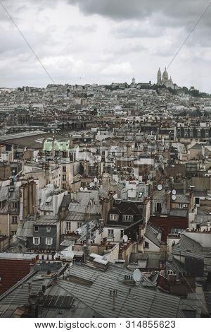 Paris View. Roofs Of Paris With Basilique Du Sacre Coeur In Background