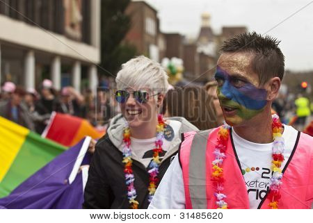 The Exeter Pride Parade Marches Through The Streets Of Exeter City In A Celebration Of Lesbian, Gay,