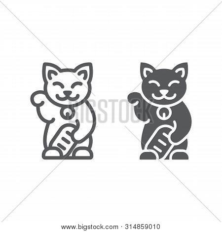 Maneki Neko Line And Glyph Icon, Asian And Animal, Japanese Cat Sign, Vector Graphics, A Linear Patt