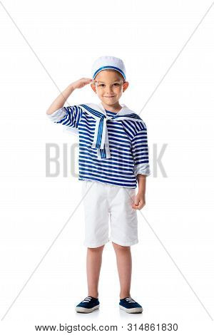 Full Length View Of Smiling Preschooler Child In Sailor Costume Saluting And Looking At Camera Isola