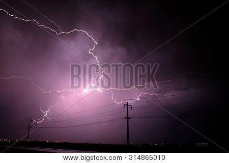 Light Lightening S Thunderstorms/ Heavy Storm / Poles Cathing Lightening
