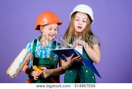 Kids choosing paint colour for their new room. Children sisters run renovation their room. Amateur renovation. Sisters renovating home. Home improvement activities. Kids girls planning renovation poster