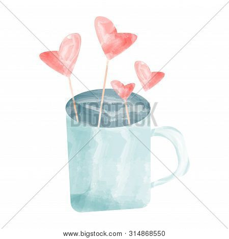 Hand Drawn Vector Watercolor-style Americano Coffee. Valentine
