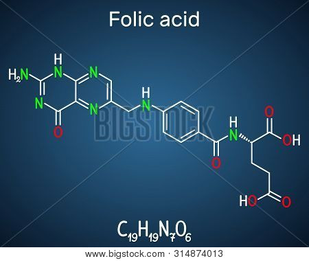 Folic Acid, Folate Molecule. It Is Known As Vitamin B9. Structural Chemical Formula On The Dark Blue