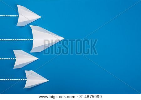 Travel Plane Concept.mockup Design Of Travel Concept With Group Airplane On Blue Color Background Wi