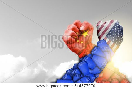 Usa And China Flag Print Screen On Shipping Container Arm Wrestle With Cloudscape Background.united