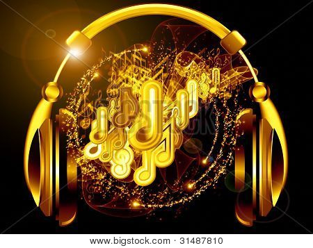 Composition of headphones musical notes abstract design elements colors and lights as a concept metaphor for music sound audiophile performance song party and entertainment poster