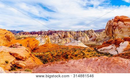 The Colorful Red, Yellow And White Sandstone Rock Formations Along The White Dome Trail In The Valle