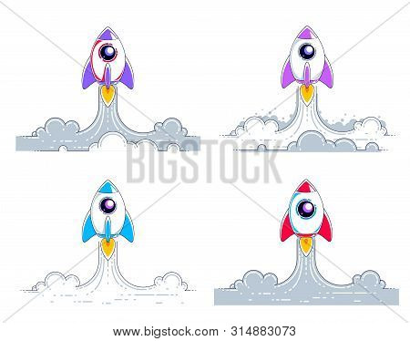 Rockets Start To Space To Discover Undiscovered Galaxies. Explore Universe, Interesting Space Scienc