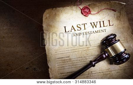 Last Will And Testament With Gavel - Old Scroll In The Dark