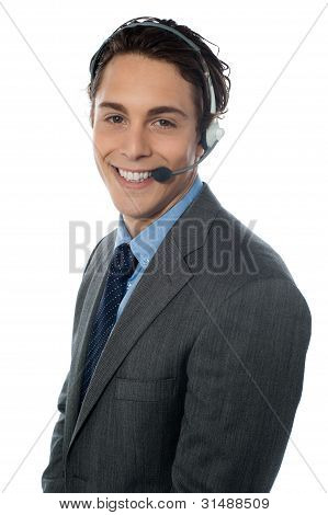 Male Customer Service Representative Smiling