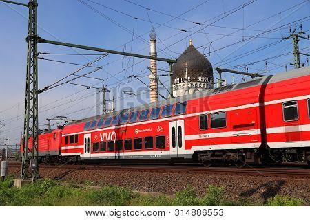 Dresden, Germany - May 10, 2018: Deutsche Bahn (german Railways) Passenger Train In Dresden, Germany