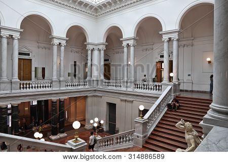 Leipzig, Germany - May 9, 2018: People Visit University Library Albertina (bibliotheca Albertina) In