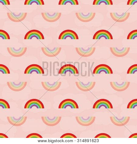 Cute Multicolour And Transparent Rainbows Seamless Geometric Vector Pattern On Cloud Textured Pink B