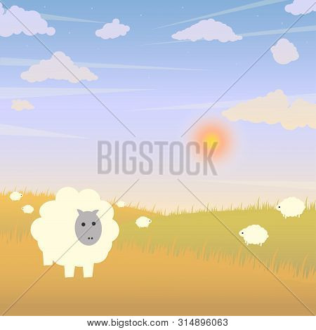 Vector Illustration With Sheeps, Hills, Clouds At Day Time. Pastoral View With Animals