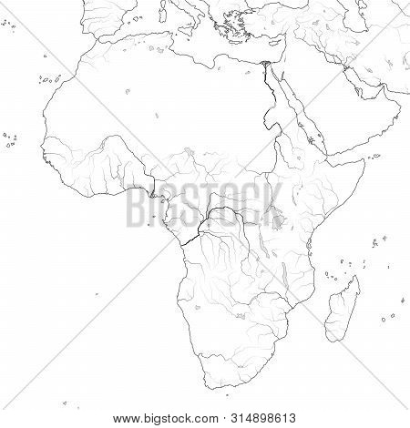 World Map Of Africa: Egypt, Libya, Ethiopia, Arabia, Mauritania, Nigeria, Somalia, Namibia, Tanzania